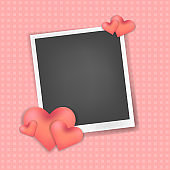 Vector realistic photo frame with hearts decor