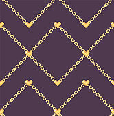 Elegant pattern with golden hearts on ring chain