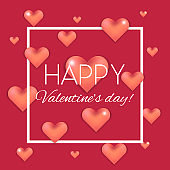 Bright red Valentine's day card with 3d hearts