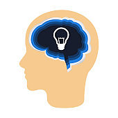 Light bulb inside the brain as a symbol of creative idea. Concept for cognitive rehabilitation in Alzheimer disease and dementia patient.