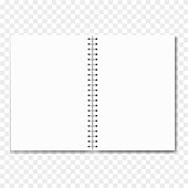 Realistic opened notebook with blank sheets