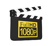 Movie Slate with Full HD 1080p Icon Isolated
