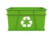 Plastic Crate with Recycle Symbol Isolated