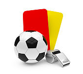 Soccer Ball, Whistle with Red and Yellow Cards Isolated