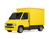 Yellow Delivery Van Isolated