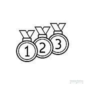 Medal icon, Outline icon, Rank, Achievement, Success, Award, Win