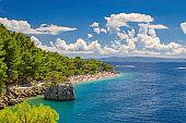 Croatia Brela, adriatic sea and beautiful beach punta rata, Dalmatia at summer