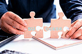 Personal transformation for bussiness successful. Development and improvement. Puzzle and jigsaw.