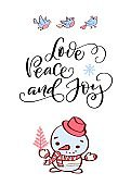Winter holidays typography Love, Peace and Joy with hand-drawn snowman and birds
