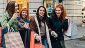 Girls returning from shopping