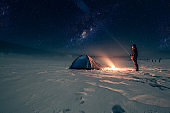 Lonely camper under a beautiful sky