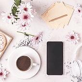 Breakfast - coffee, tephon, headphones.