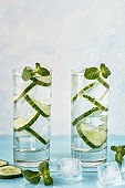 Cold and refreshing infused detox water with  cucumber.