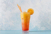 Juicy Orange and Red Tequila Sunrise with ice