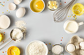 Background with ingredients for cooking, baking