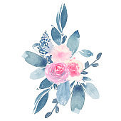 Watercolor hand painted flower wedding bouquet