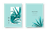Wedding tropical invitation card save the date design with green fan palm leaf