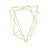 Gold geometrical triangular frame isolated on white background