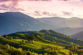 colorful sunset in Carpathian countryside