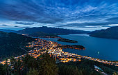 Queenstown, Mountain Cityscape Lake Beautiful Travel Destinations Concept