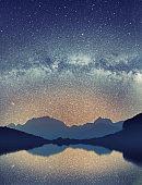 Milky Way over the Udziro lake, Racha, Georgia