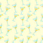 seamless pattern with exotic cocktails