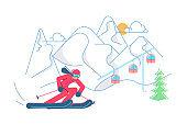 Mountain Ski Resort concept.