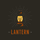 Vintage hand drawn lantern poster concept. Perfect for  design, badge, camping labels. Retro colors. Symbol for outdoor activity emblems. Stock vector illustration isolated on black background