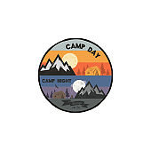 Camp day and camp night outdoor adventure concept. Unique camping emblem, badge. Included mountains, tent, bonfire, eagle symbols and elements. Letterpress effect. Stock vector illustration