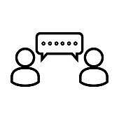 Chat Icon. Speech Bubble Sign. Conversation, Communications Symbol. Users Icon