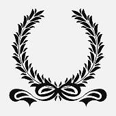 icon laurel wreath ribons, spotrs design - vector