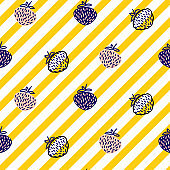 Strawberry and stripes yellow seamless vector pattern.