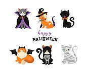 Happy Halloween - cats in monsters costumes, Halloween party. Vector illustration, banner, elements set