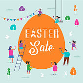 Happy Easter sale promotion design and banner