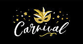 Carnival poster, banner with golden chic party elements - mask, confetti, stars and splashes.