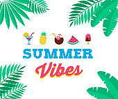 Summer vibes, sale and promotion template of poster, banner
