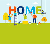 Home  concept - family is painting letters together