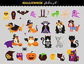Happy Halloween - stickers set of cats and dogs in monsters costumes, Halloween party. Vector illustration, banner, elements set