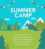 Summer camp, children vacation, traveling and family camping activity. Poster and flyer