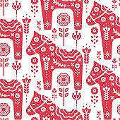 Dala swedish horse seamless vector pattern