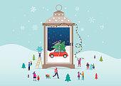 Merry Christmas, Winter wonderland scenes in s snow globe, candle lantern, concept vector illustration