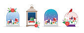 Merry Christmas, Winter wonderland scenes in collection of snow globes, concept vector illustration