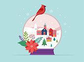 Merry Christmas, Winter wonderland scenes in a snow globe, concept vector illustration