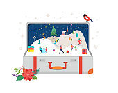 Merry Christmas, Big open suitcase with winter scene and small people, young men and women, families having fun in snow, skiing, snowboarding, sledding, ice skating. Concept vector illustration