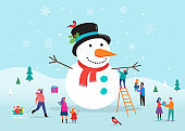 Merry Christmas card, background, bannner with a huge snowman and small people, young men and women, families having fun in snow