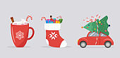 Merry Christmas background, banner with Xmas icons - car, sock and cocoa mug