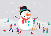 Merry Christmas card, background, bannner with huge snowman and small people, young men and women, families having fun in snow, skiing, snowboarding, sledding, ice skating, concept vector illustration