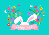 Happy Easter, sweet bunny with flowers design.