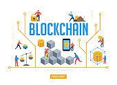 Blockchain scene with minimalistic people. Fintech industry concept design