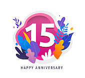 Happy Anniversary - fantasy leaves background with number, concept of celebration, birthday, event banner design